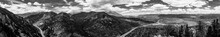 Black & White Panoramic Detailed Contrasty Shot Of Mountains And Town In Colorado