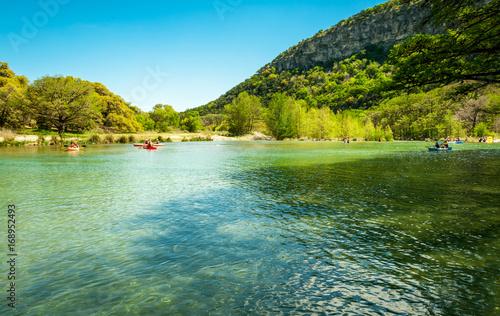Poster Texas Summer canoeing in Garner State Park, Texas