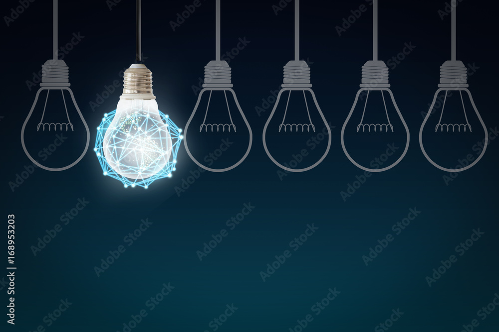 Fototapety, obrazy: Creative abstract light bulb technology background, Innovative, Idea and futuristic thinking concept.