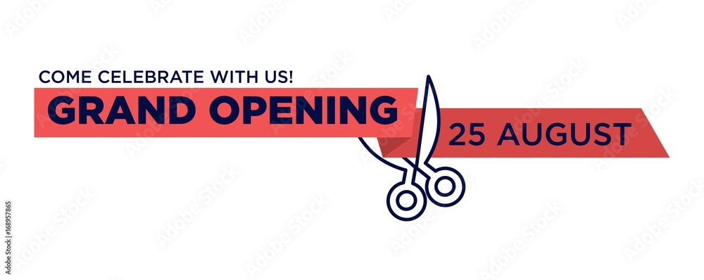 Fototapeta Grand opening red ribbon cut with scissors cutting vector isolated icon