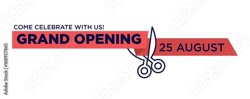 Stampa su Tela Grand opening red ribbon cut with scissors cutting vector isolated icon