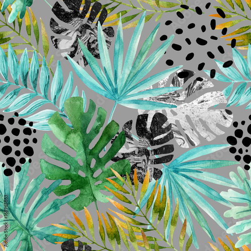 Canvas Prints Graphic Prints Hand drawn abstract tropical summer background
