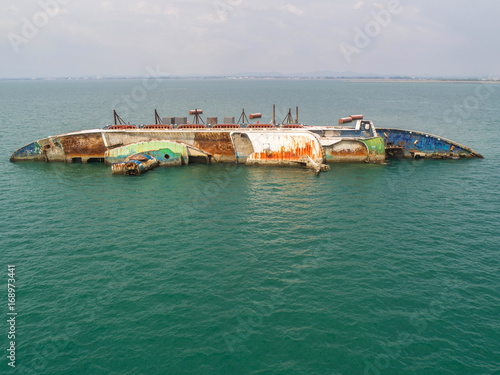 Garden Poster Shipwreck Boat crashes in the sea, cruise ship ,accident ,Shipwreck,top view ,aerial view
