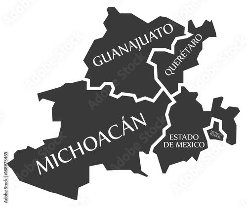 Mexico Map Guanajuato.Guanajuato Queretaro Michoacan Estado De Mexico Distrito
