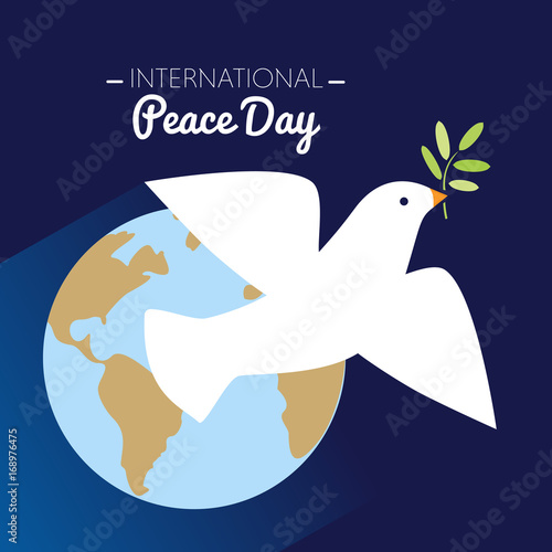 Foto  International peace day dove flying with olive branch and Earth in the backgroun