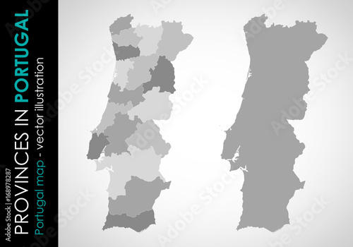 Fotografia, Obraz  Vector map of Portugal and provinces GRAY