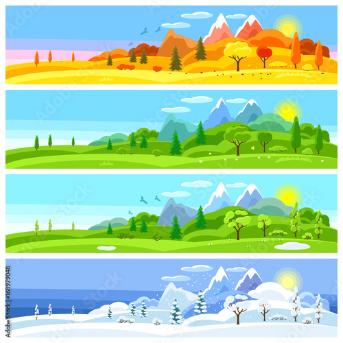 Photo sur Aluminium Piscine Four seasons landscape. Banners with trees, mountains and hills in winter, spring, summer, autumn.