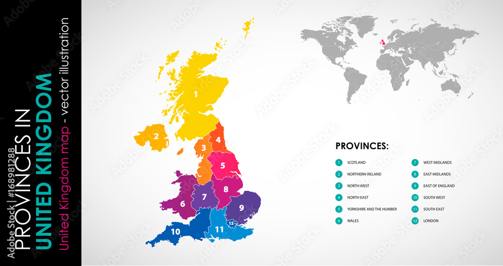 Fototapety, obrazy: Vector map of United Kingdom and provinces COLOR