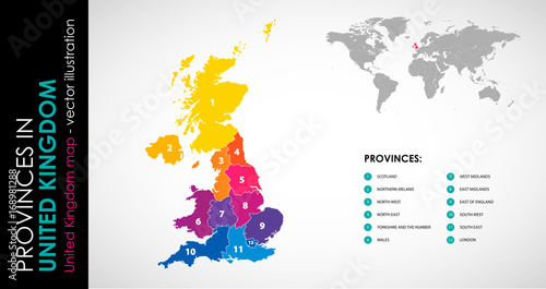 Photo Vector map of United Kingdom and provinces COLOR