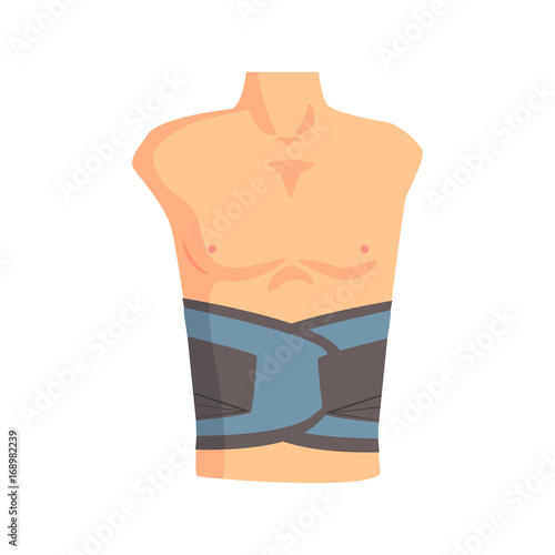 Cuadros en Lienzo Orthopedic support belt used to support lumbar spine cartoon vector Illustration
