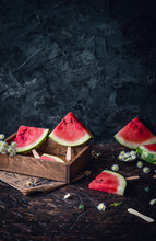Watermelon Slices On Wooden St...
