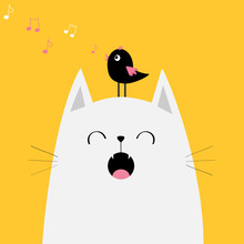 White Cat Face Silhouette Meowing Singing Song. Bird On Head. Music Note Flying. Cute Cartoon Funny Character. Kawaii Animal. Baby Card. Pet Collection. Flat Design. Yellow Background. Isolated.