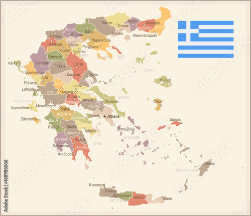 Canvas Print Greece - vintage map and flag - illustration