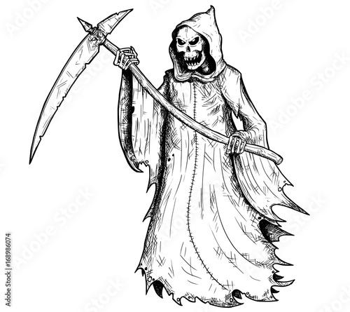 Photo sur Toile Art Studio Hand Drawing Illustration of Halloween Grim Reaper