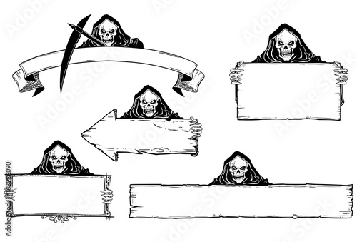 Hand Drawing Set of Halloween Frames with Grim Reaper Canvas Print