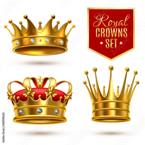 Realistic Royal Crown Icon Set Canvas
