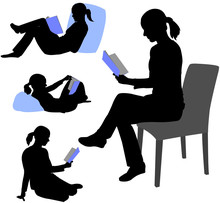 Woman Reading Book Silhouettes