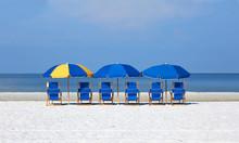 Beach Chairs And Umbrellas Lin...