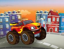 Cartoon Fast Off Road Car Look...