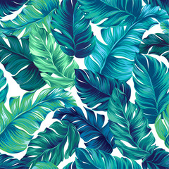 Naklejka Liście vector tropical palm seamless pattern. amazing vintage style.
