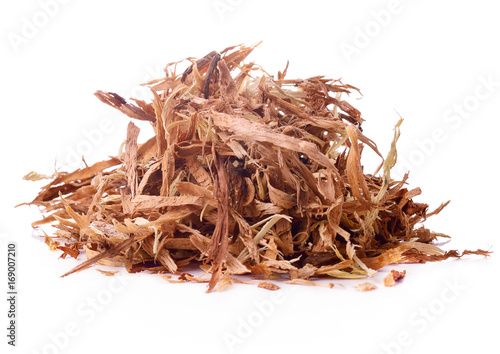 Wood shavings isolated on white background, with clipping path