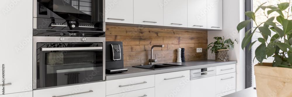 Obraz White units in the kitchen fototapeta, plakat