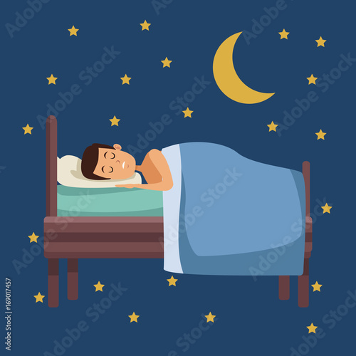 Spoed Foto op Canvas Violet colorful scene of night with guy sleep in bed with moon and stars vector illustration