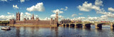 Fototapeta Big Ben - Panoramic picture of Houses of Parliament, Big Ben and Westminster Bridge, London