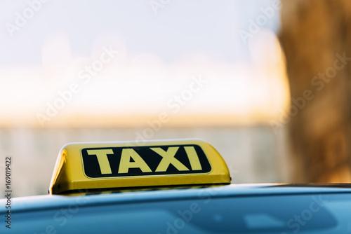 Zdjęcie XXL Zamknij się z dachu taksówki w Wiedniu.