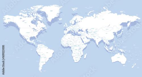 Fotobehang Wereldkaart vector high detailed world map