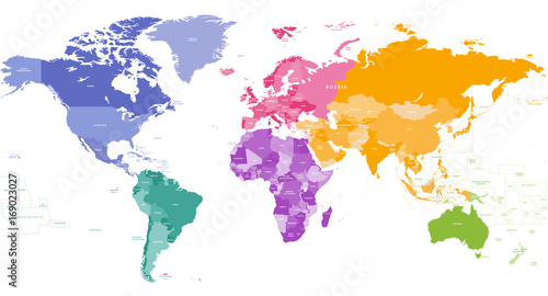 Acrylic Prints World Map world map colored by continents