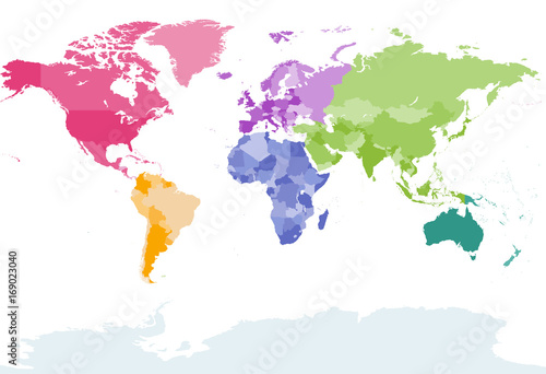 Fotobehang Wereldkaart world map colored by continents