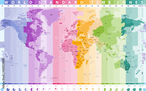Photo Stands World Map world standard time zones vector map