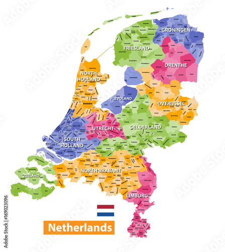 Netherlands high detailed local municipalities map colored by provinces Wallpaper Mural