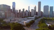 Aerial Footage Millennium Park Chicago 4k