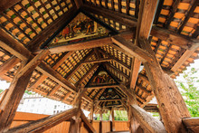Inside View Of Ancient Wooden Chapel Bridge (Kapellbrucke) Over Reuss River In The Historic Center Of Old Town Lucerne, Switzerland, Europe.