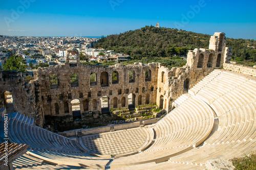 Zdjęcie XXL Widok z Akropolu do antycznego teatru Odeon of Herodes Atticus w Ateny, Grecja