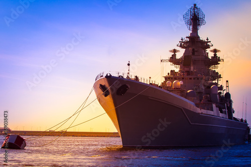 Warship. Large warships. Canvas Print