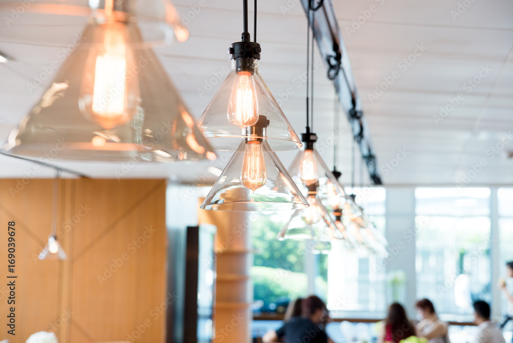 Fototapety, obrazy: hanging ceiling lights in a modern shared office space