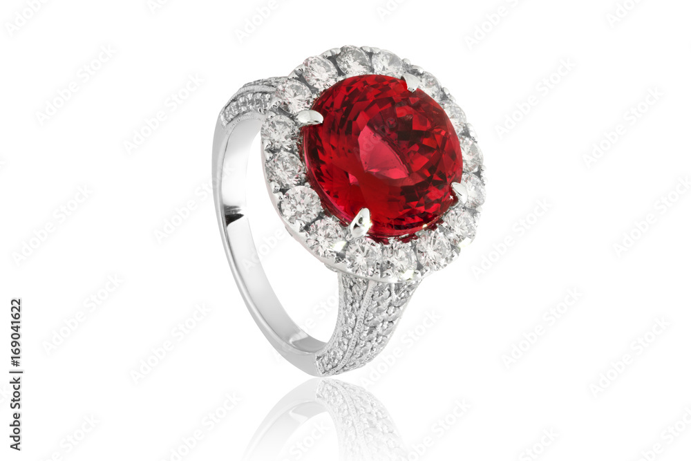 Fototapety, obrazy: Ring with red ruby, jewelery with red diamonds in gold
