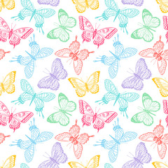 Fototapeta seamless sketch multicolored butterflies