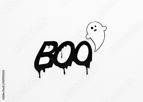 Fényképezés  ghost doodle and word boo on white background