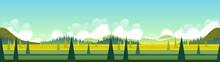 Banner With Green Landscape, V...