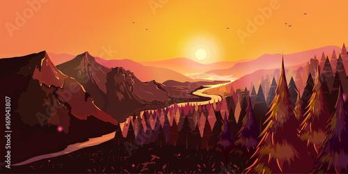 Wschód słońca w pięknych górach z rzeką i lasem. Ilustracja wektorowa do projektowania