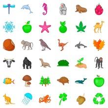 Green Plant Icons Set, Cartoon Style
