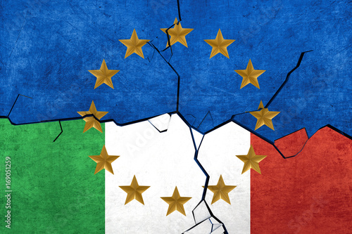 Fotografie, Obraz  European union and Italian flags breaking apart