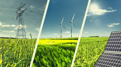 Obraz na płótnie Kolaż koncepcja energii odnawialnej