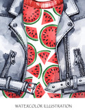 Watercolor illustration. Hand painted leather jacket with fresh watermelon. Healthy style. - 169052880