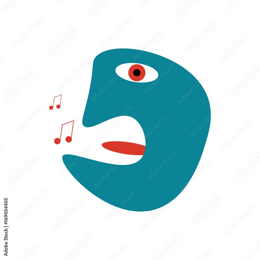 Bizarre postmodern or cubism styled illustration of a singer.
