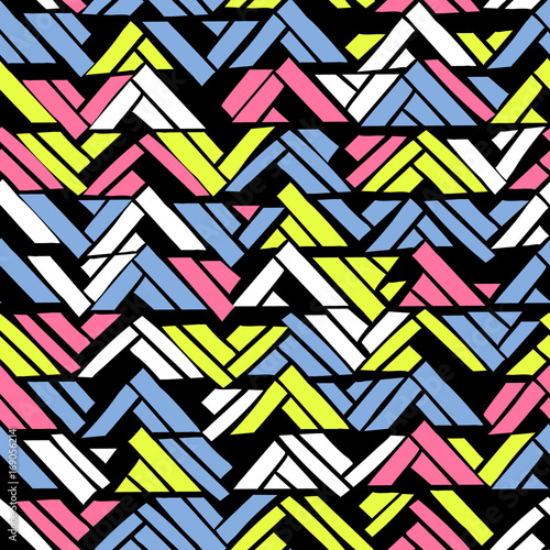 Abstract geometric seamless hand drawn pattern with tribal motifs